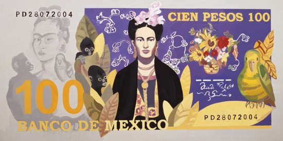 Cien_Pesos_Imaginary_Mexican_Note_Pola_Dwurnik_2004_oil_canvas_small