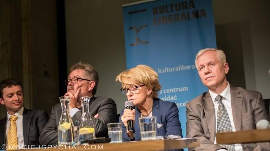 Od lewej Krzysztof Iszkowski, Grzegorz Benedykciński, Danuta Hübner, Marek Jurek