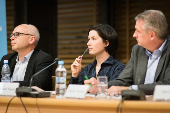Dariusz Stola, Karolina Wigura i Timothy Snyder. Fot. Jędrzej Sokołowski