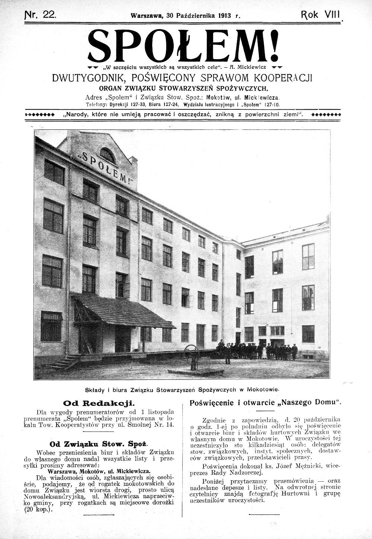 """Tygodnik """"Społem"""", 1913 r. Źródło: Narodowa Biblioteka Cyfrowa Polona."""
