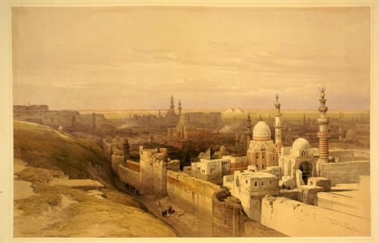 Panorama Kairu, David Roberts, ok. 1845r. Źródło: Wikimedia Commons