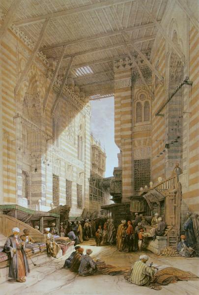 Meczet ikompleks grobowy sułtana Al-Aszrafa Kansuha al-Ghauriego, grafika Davida Robertsa, 1838r. Źródło: Wikimedia Commons