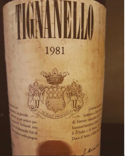Tignanello z1981. roku sklasyfikowane jako proste wino stołowe. Fot.Norbert Dudziński