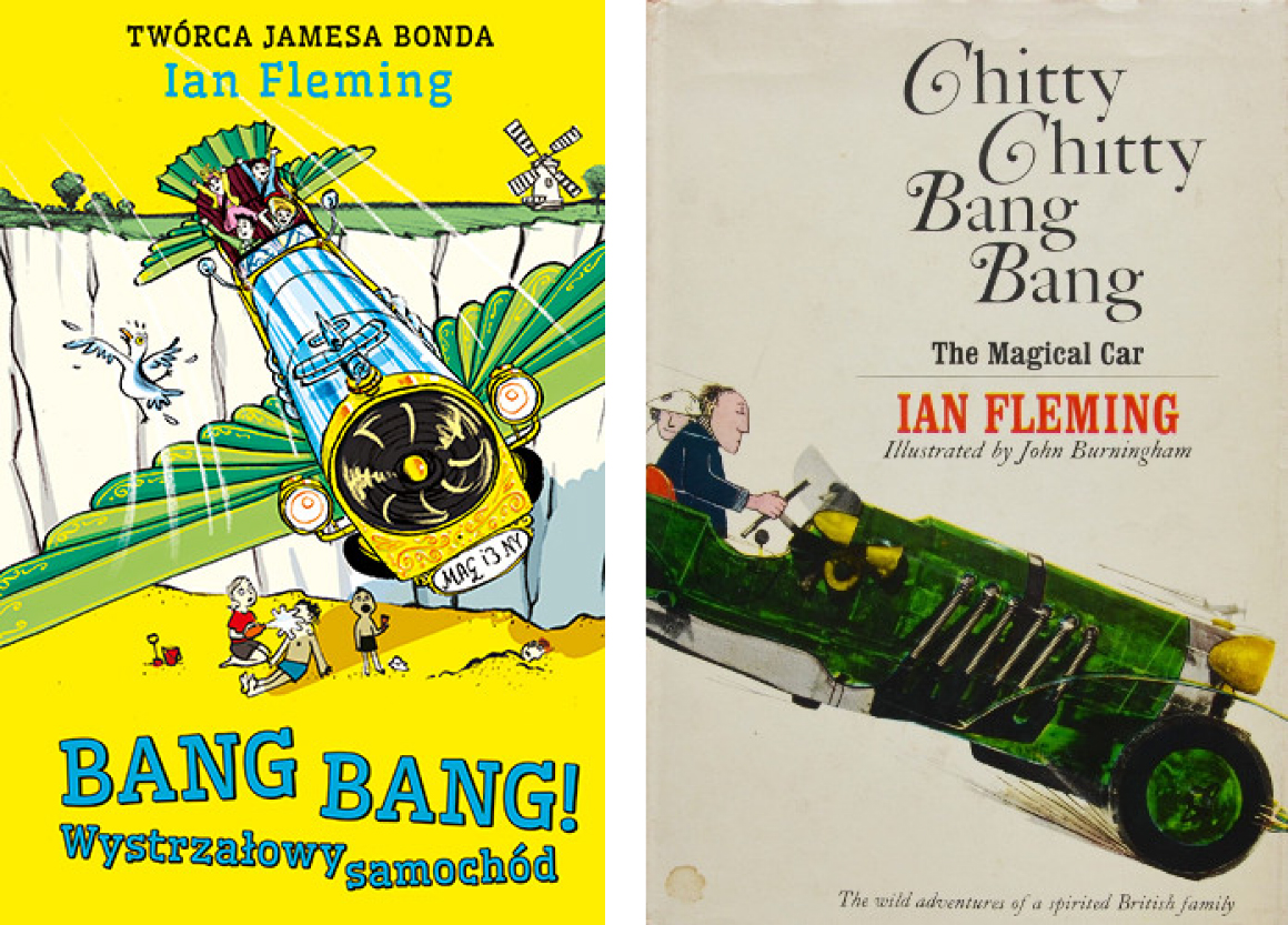 Współczesna okładka książki Iana Fleminga orazjej starsza wersja autorstwa Johna Burninghama