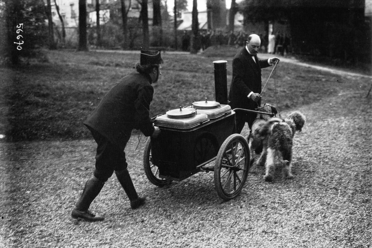Psy ciągnące kuchnię polową. Fot. Agence Meurisse. Źródło: Bibliothèque nationale de France