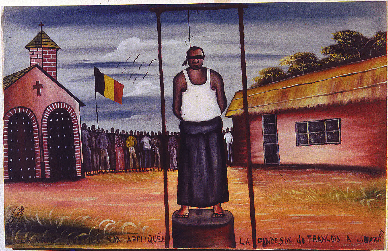 Tshibumba Kanda Matulu, Lubumbashi, 1973, Prawdziwa sprawiedliwosc nie zostala dokonana, powieszenie François w Lubumbashi, Collection MRAC Tervuren, Fonds B. Jewsiewicki