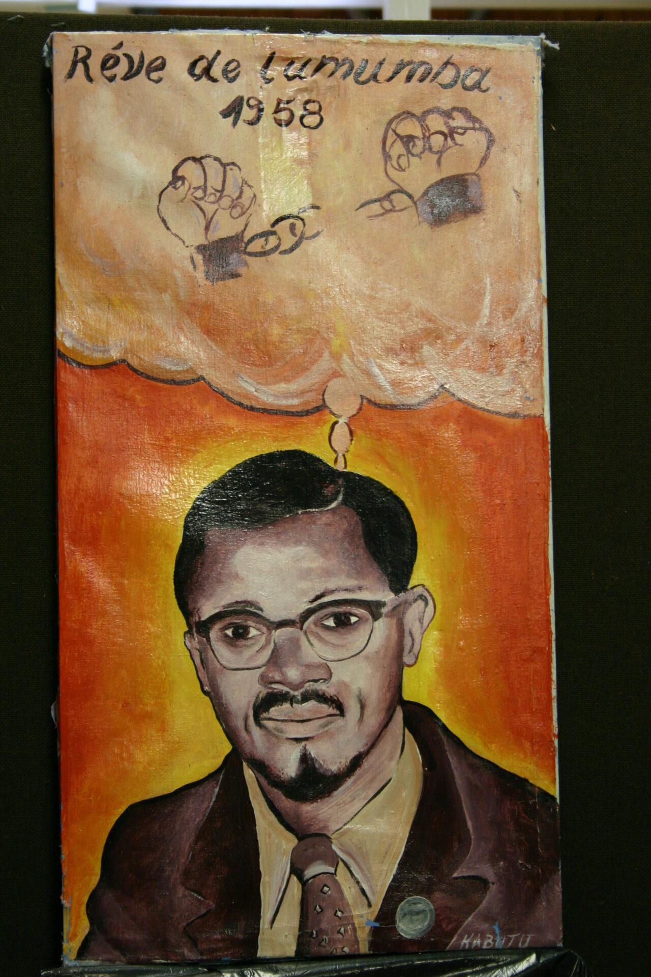 Tshibumba Kanda Matulu, Lubumbashi 1974, Historyczna smierc Lumumby Mpolo i Okito, 17 stycznia 1961 roku, dawna kolekcja B. Jewsiewickiego, obecnie w zbiorach Museum for African Art, New York.