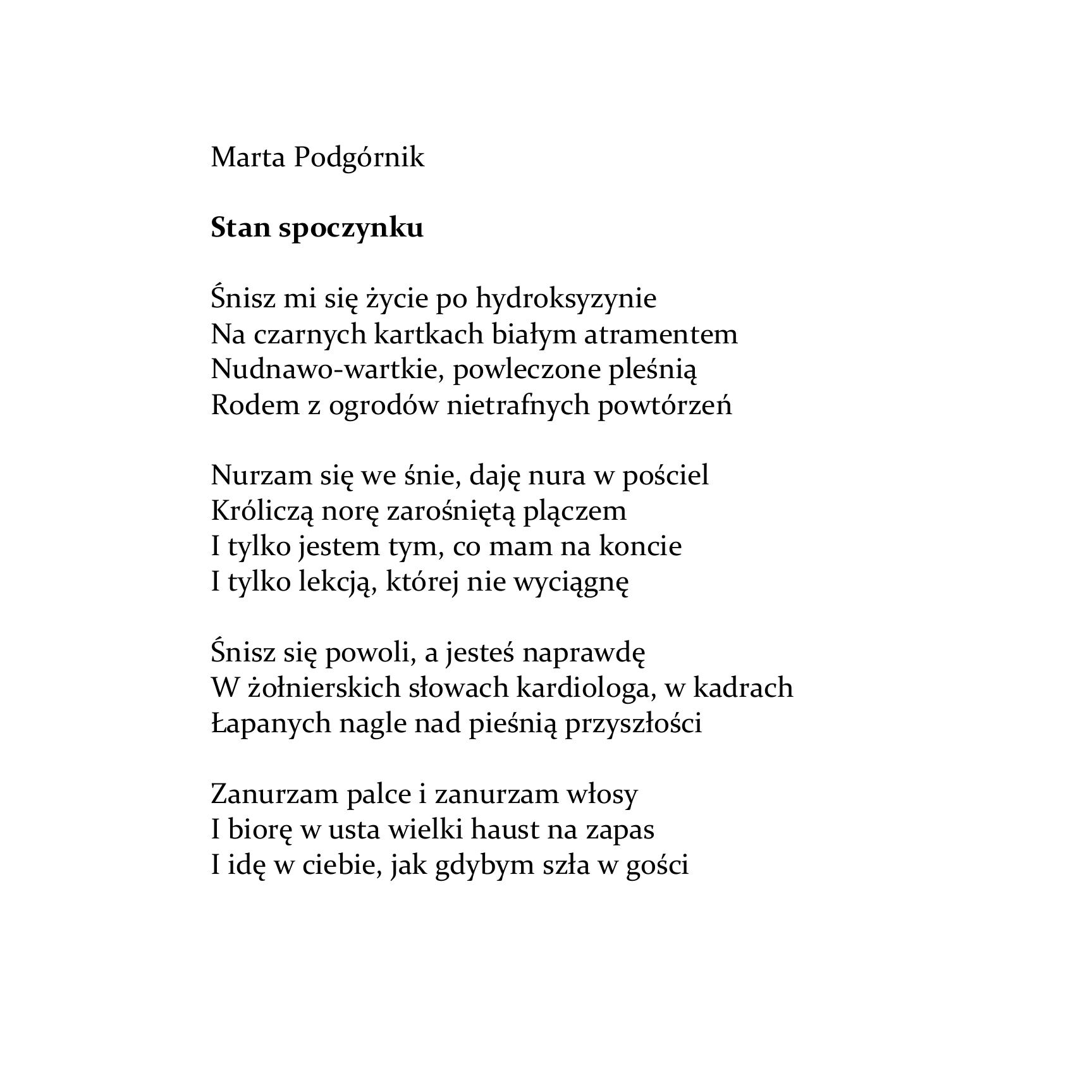 Marta Podgórnik Stan Spoczynku Wierszoptykon