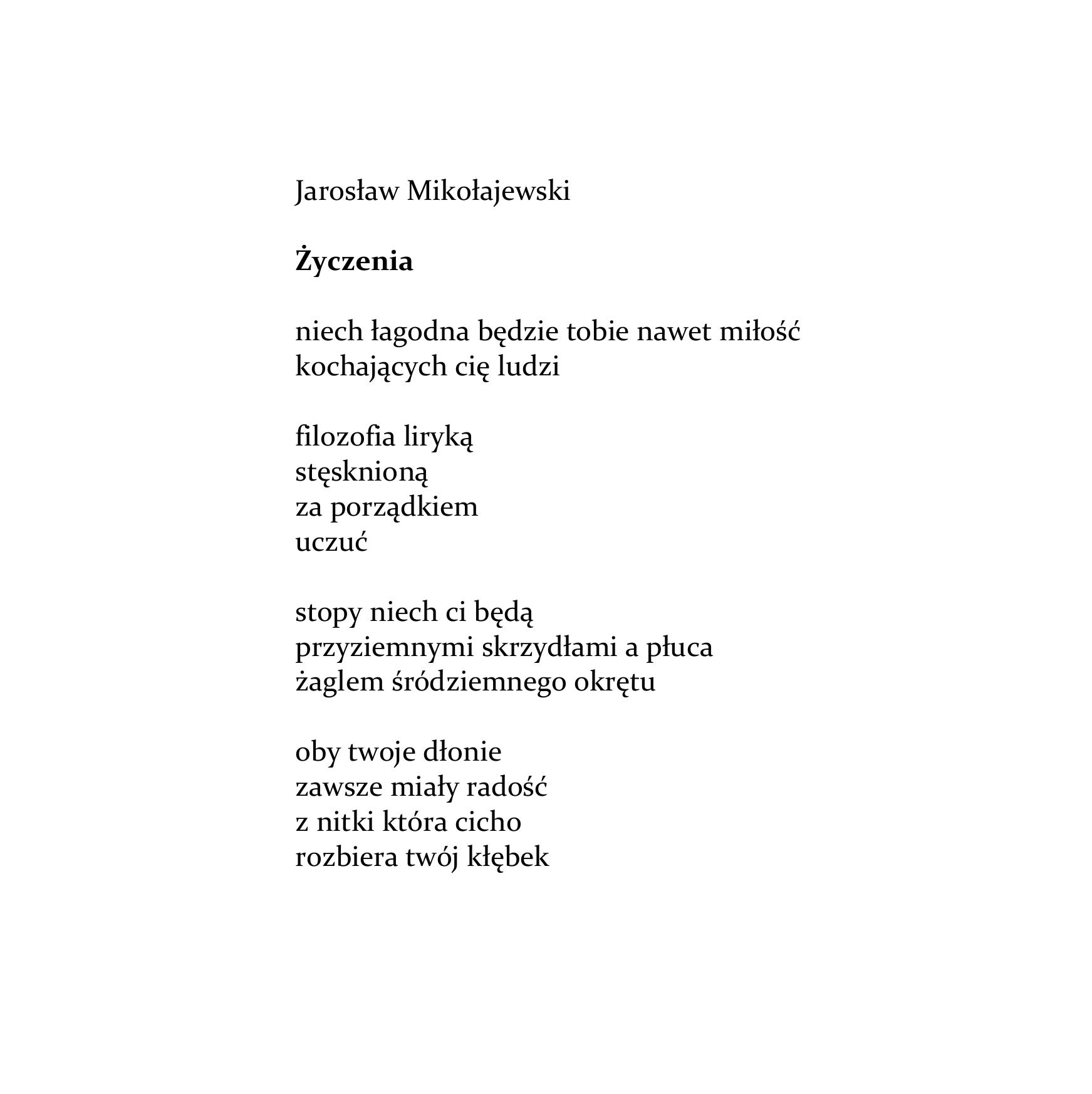 Jarosław Mikołajewski życzenia Wierszoptykon
