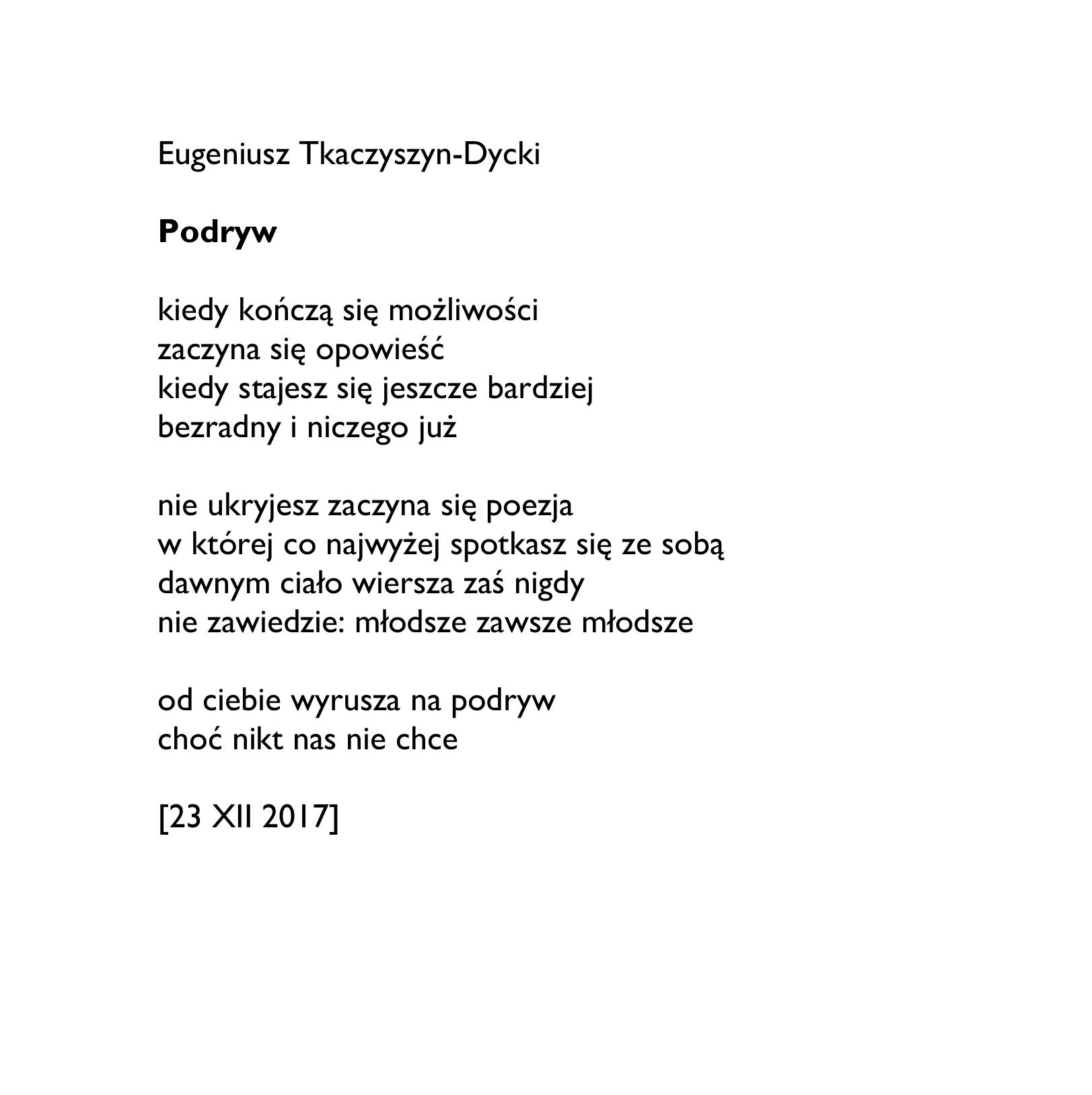 Eugeniusz Tkaczyszyn Dycki Podryw Wierszoptykon