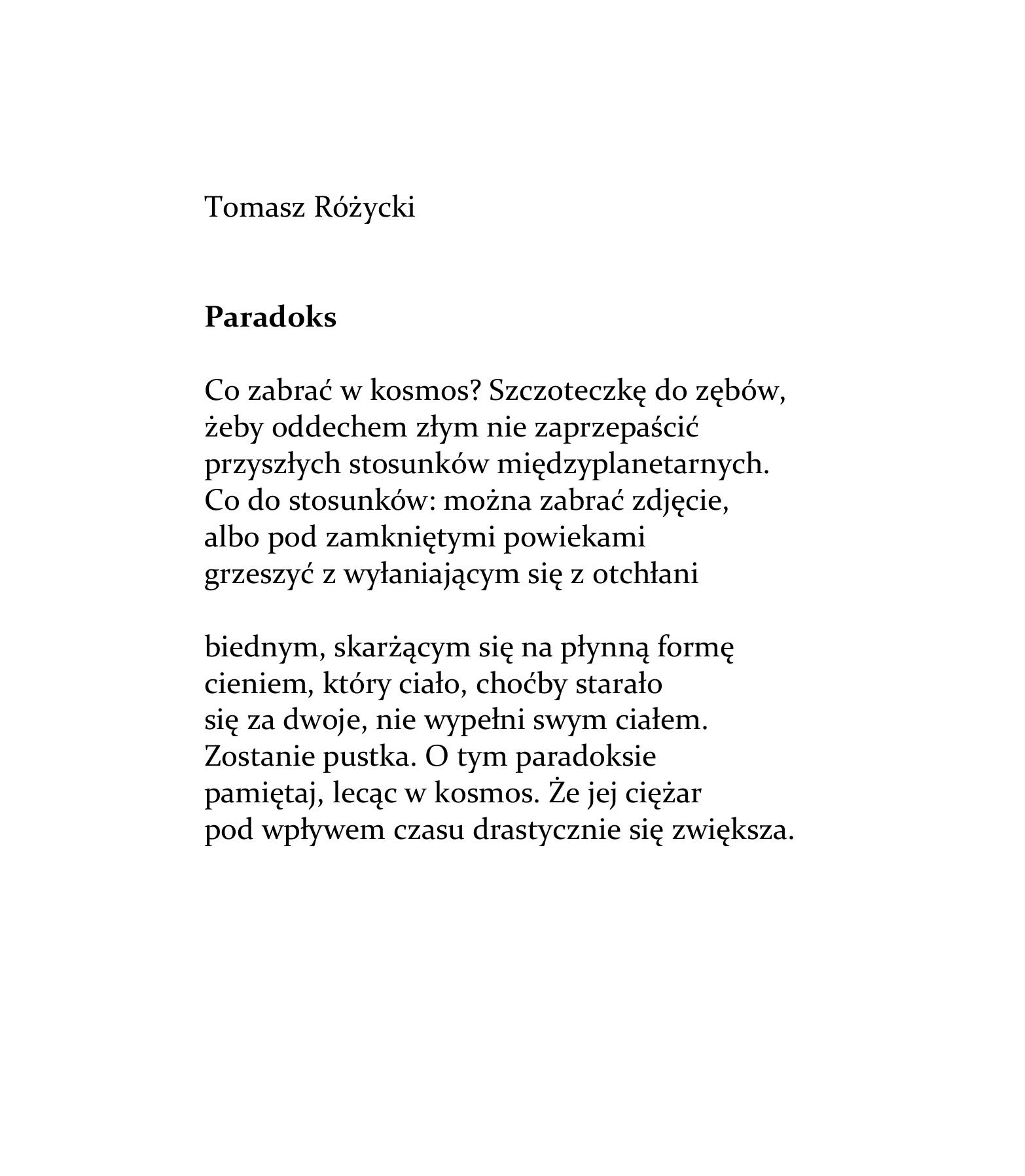 Tomasz Różycki Paradoks Wierszoptykon